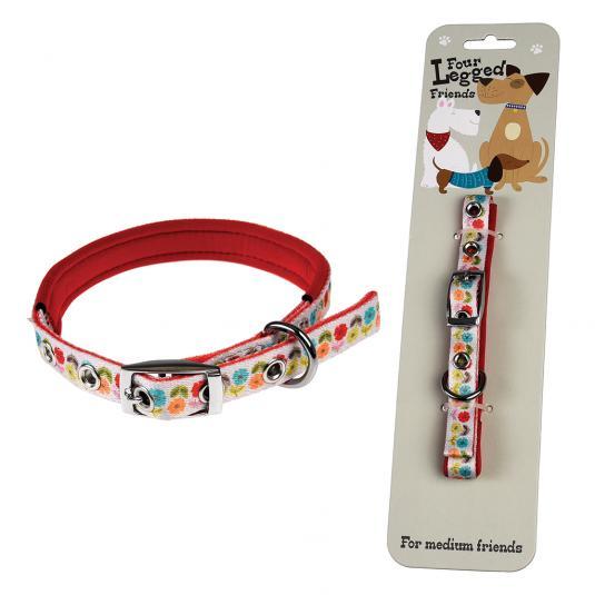 Medium Mid Century Poppy Floral Dog Collar