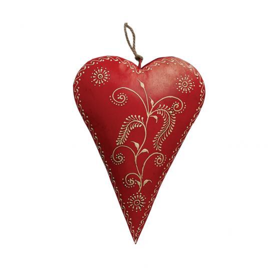 Medium Red Rustic Heart Barley