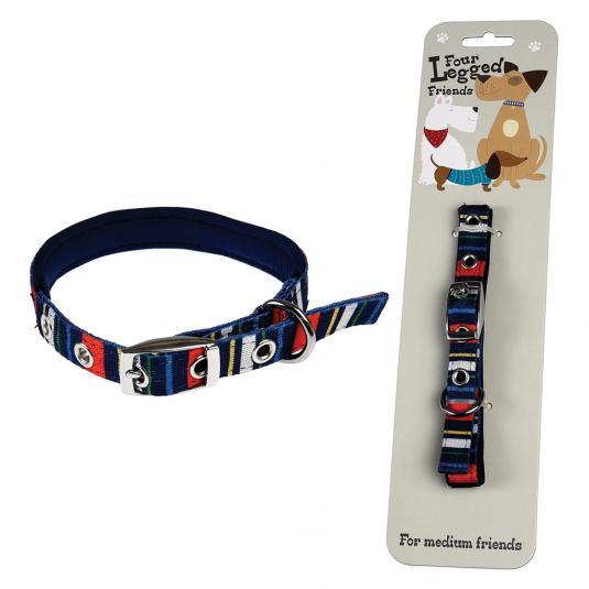 Medium Dark Blue Stripy Dog Collar