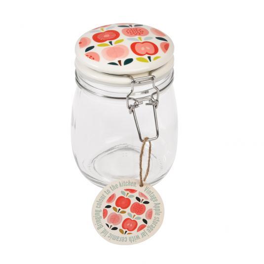 Medium Vintage Apple Design Glass Jar
