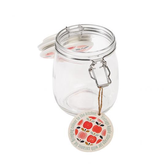 750 ml Glass Jar with Ceramic Red Apple Print Lid