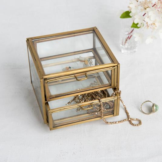 Metal And Glass Two Drawer Trinket Box Brass