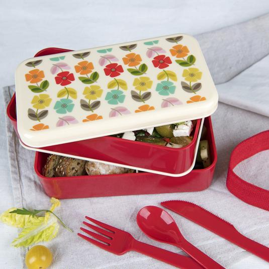 floral print adult red Lunch box with compartments and plastic cutlery