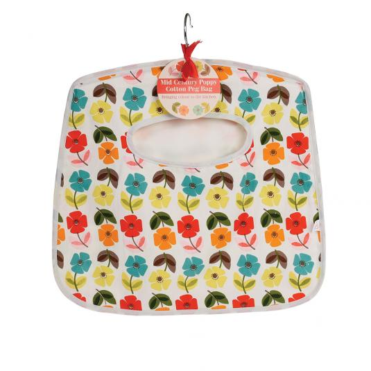 Mid Century Poppy Design Peg Bag
