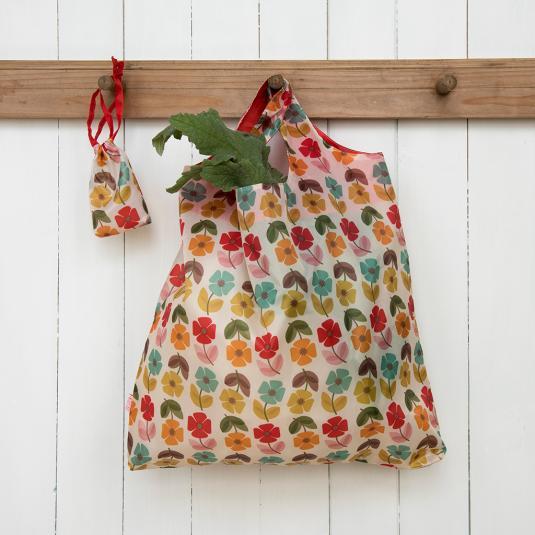 Mid Century Poppy Foldaway Shopping Bag