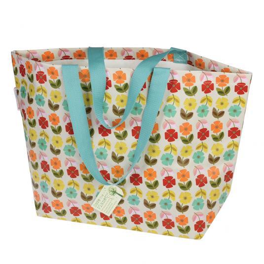Mid Century Poppy shopping and beach bag