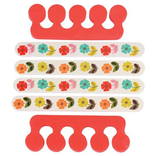 Floral nail files and toe separators