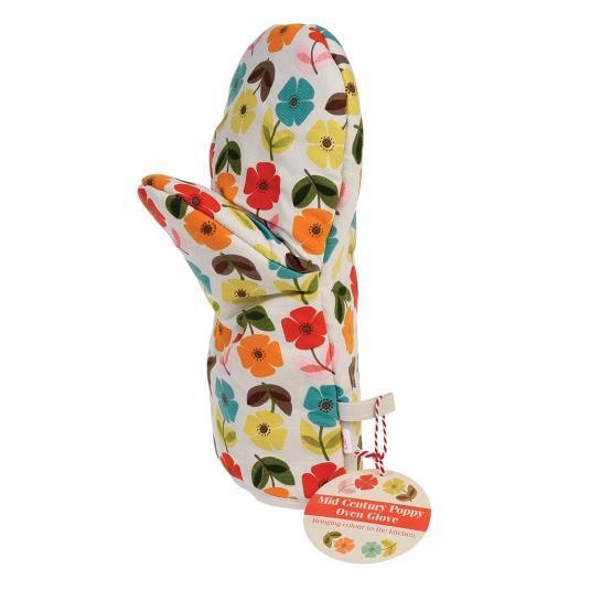 Mid Century Poppy Design Oven Glove