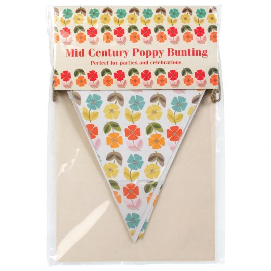 Mid Century Poppy Paper Bunting