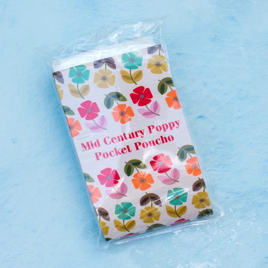 Mid Century Poppy Emergency Rain Poncho