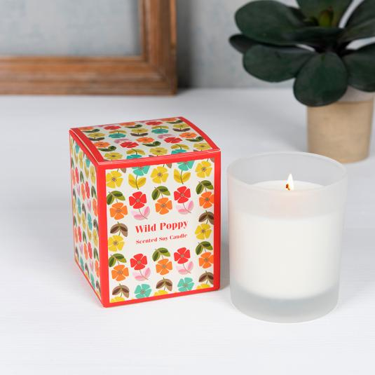 Mid Century Poppy Boxed Scented Candle