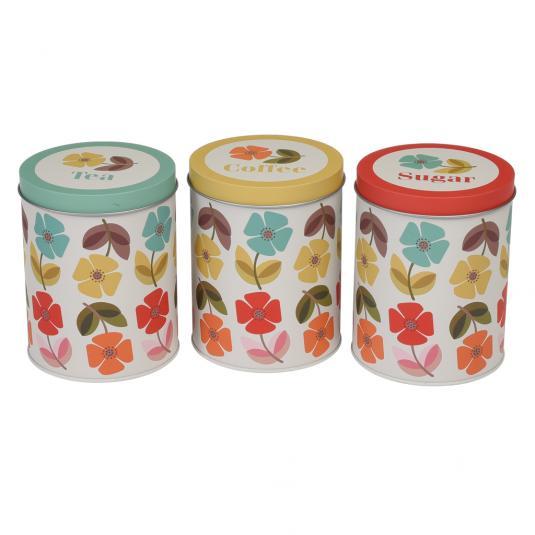 Mid Century Poppy Set Of 3 Tea Coffee Sugar Caddies