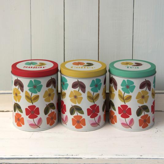 Mid Century Poppy Set Of 3 Tea Coffee Sugar Tins