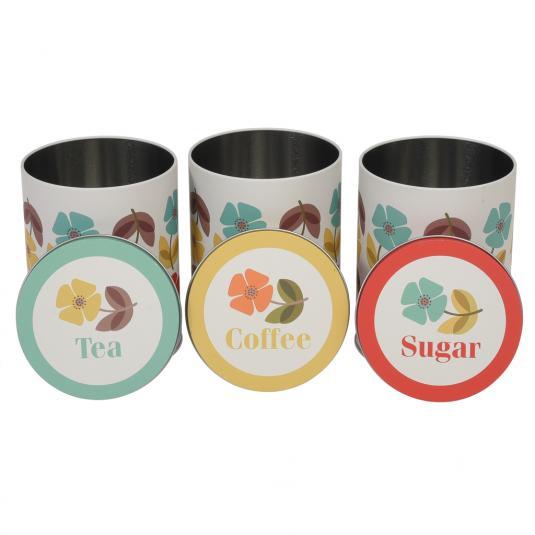 Mid Century Poppy Set Tea Coffee and Sugar Storage Tins