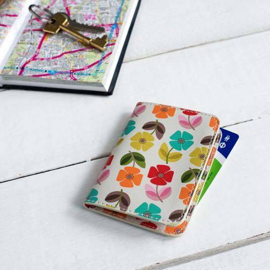 Mid Century Poppy Travel Card Holder