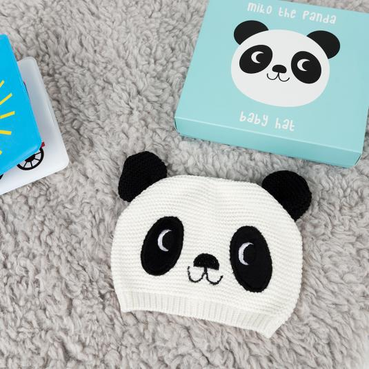 Knitted cotton Miko the Panda baby hat in a presentation box
