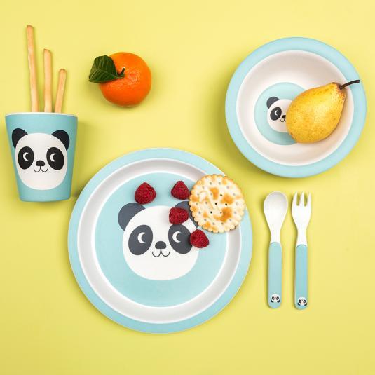 toddler blue bamboo dinnerware set panda print