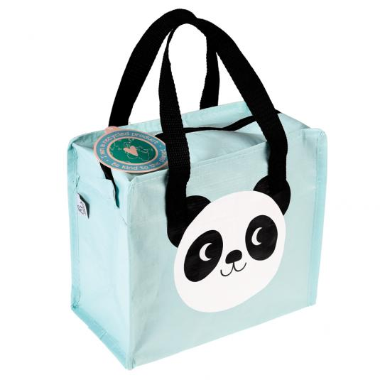 Panda print pale blue children's Bag with black handles and zip