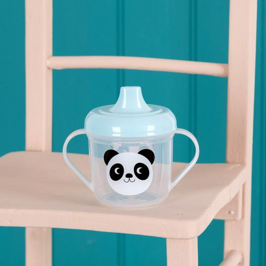 toddlers' sippy cup with blue lid and panda face