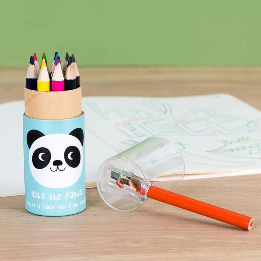 Set of 12 colouring pencils and sharpener - Miko the Panda