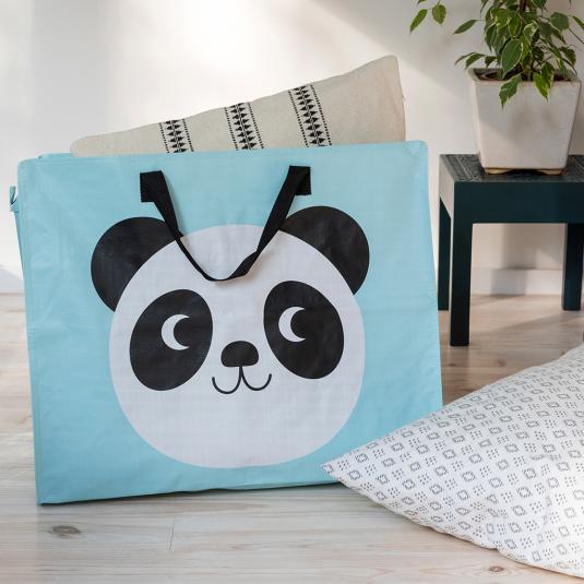 panda design storage bag with black handles and zip panda print