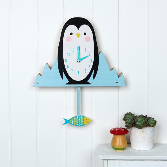 Milo The Penguin Wooden Wall Clock