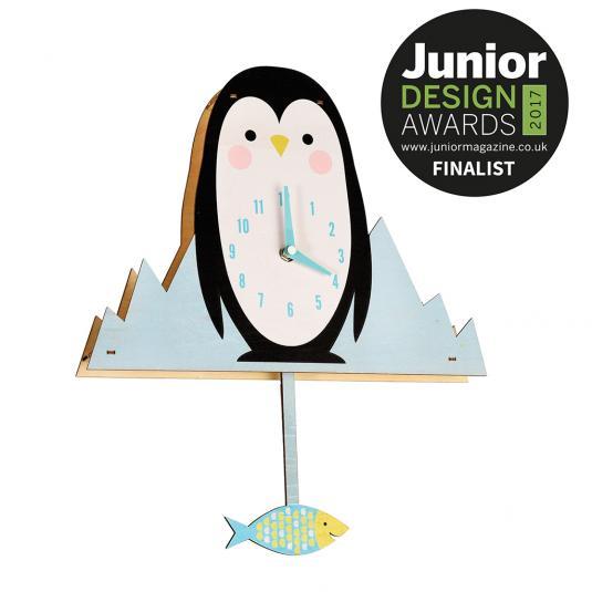 Milo The Penguin with Fish Pendulum - Kids Wooden Wall Clock