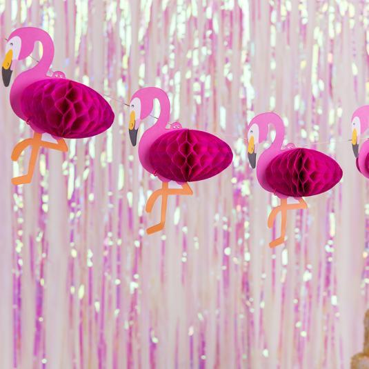 Mini honeycomb pink flamingo paper garland