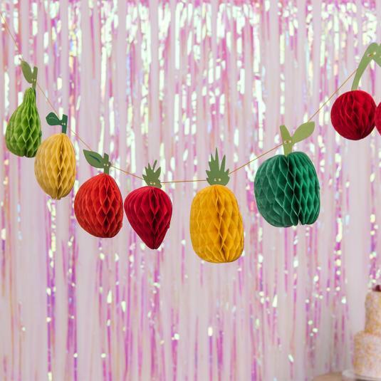 mini honeycomb fruits decorative garland