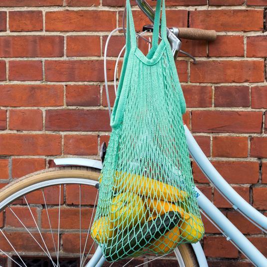 100% organic cotton mint green string bag