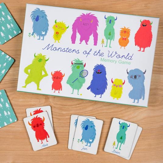 colourful monsters pint card memory game