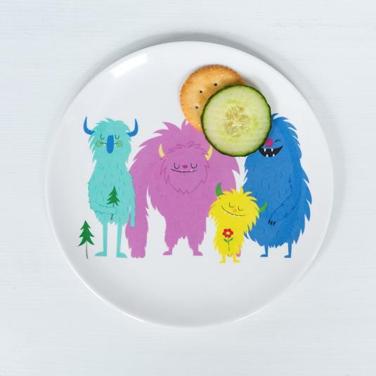 Children's Melamine Plate - Monsters