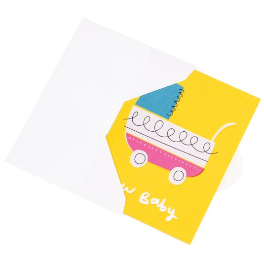 New born Baby Vintage Pram Small yellow greetings Card with envelope
