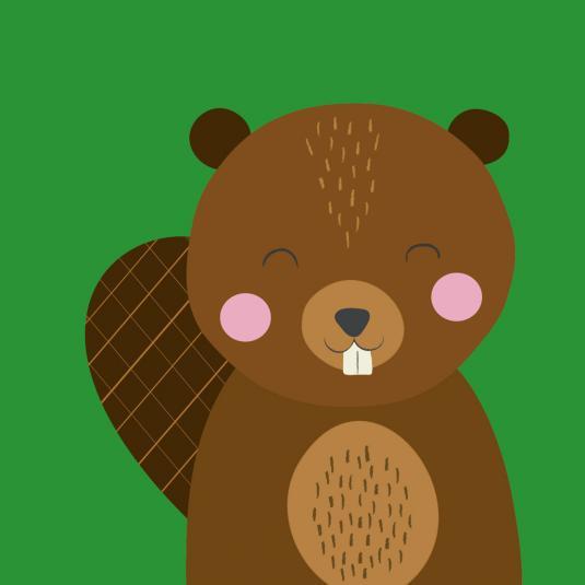 Nice Beaver Animal Friend Square Card