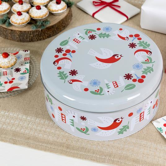 Nordic Christmas round cake tin