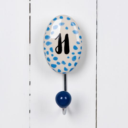 Painted Ceramic Letter Hook H