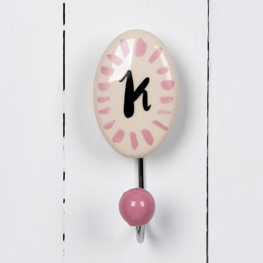 Painted Ceramic Leter Hook K