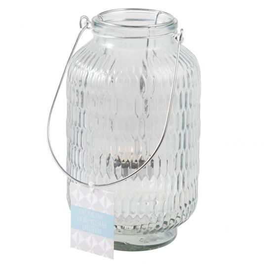 Large Pale Blue Honeycomb Jar Tea Light Holder