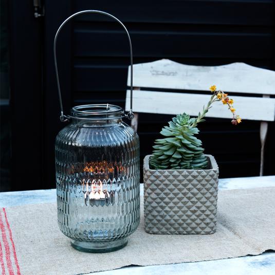 Pale Blue Glass Honeycomb Tea Light Holder