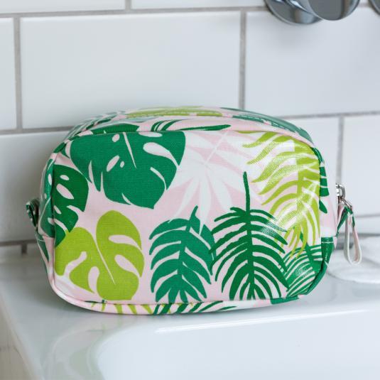 green tropical Palm Leaf pink oilcloth Make Up Bag