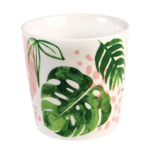 Green Palm Leaf Tropical Porcelain Mug