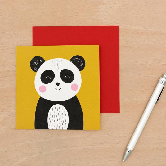 baby panda yellow blank greetings card with red envelope