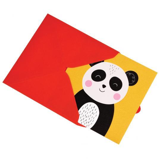 Panda kids yellow greeting Card with red envelope
