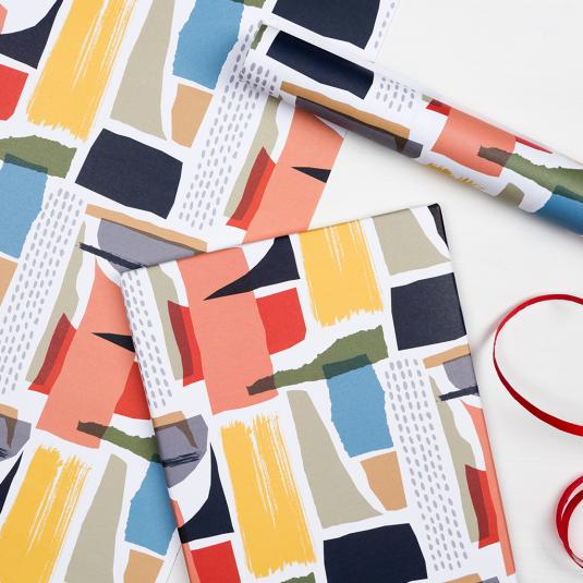 abstract collage gift wrapping paper