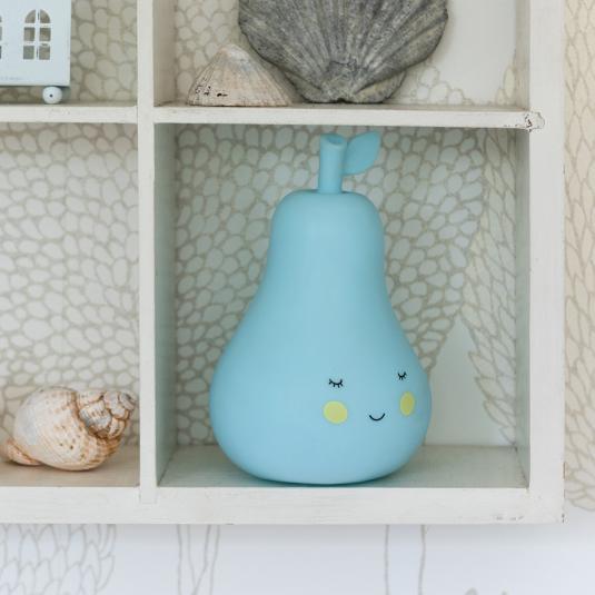 Blue pear shaped night light on the shelf