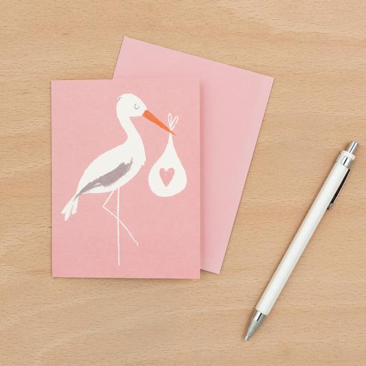 Stork newborn Baby girl Bundle Pink greetings Card with an envelope