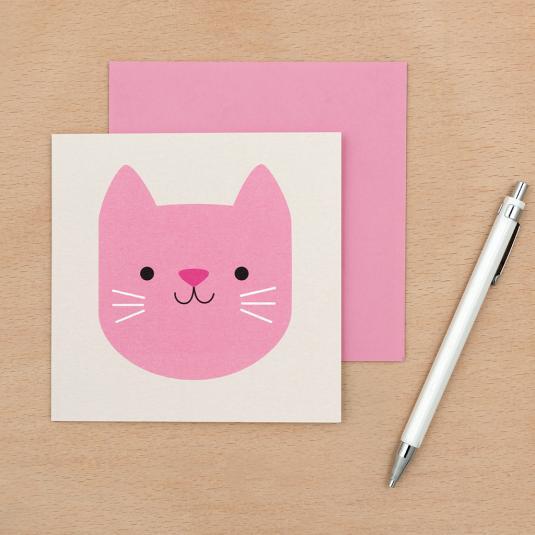 pink cat kids blank greetings card with envelope