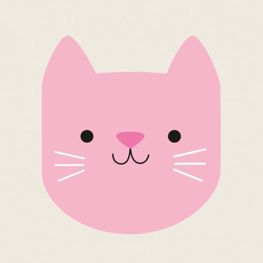 Pink Cat kids greeting Square Card