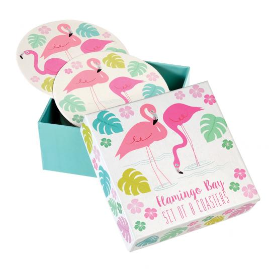 Pink Flamingo Bay Coaster Set in a gift box