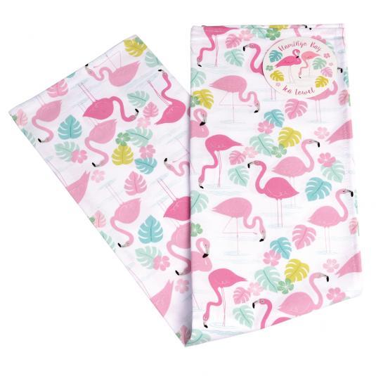 Pink flaming print cotton tea towel